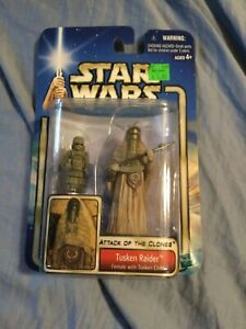 Star Wars Attack of The Clones Tusken Raider Female & Child Hasbro Action Figure