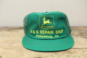 Vintage JOHN DEERE H&S Repair Shop Philipsburg PA Mesh Snapback Trucker Hat Cap