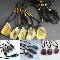 Natural Amethyst Fluorite Quartz Pendant Crystal Stone Gemstone Necklace Gift