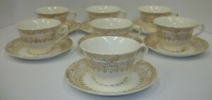 Vintage Stetson Greek Key China Dinnerware 22 Kt Gold - Cups and Saucer Sets