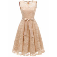 Women Floral Lace Overlay Dress Fit and Flare Sleeveless Retro Cocktail Dresses
