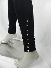 NEW Miss Juli Black w/Rhinestones Seamless Footless Tights (D1-10)