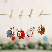 Cute Felt Wool Elk Christmas Tree Decorations Hanging Deer Craft Xmas Ornament