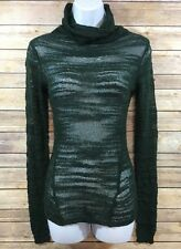 NWT Sparkle & Fade Urban Outfitters Dark Green Sheer Knitted Turtleneck Top S