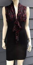 Studio Petite Womens Dress Black Red Gray Sleeveless Stretch Silk Top Sz MP NWOT