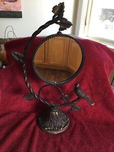 Vintage Iron Swivel Table Top Vanity Mirror Vines and Bird - Sculpture art
