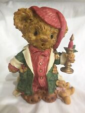 Vintage Teddy & Me Santa Bear Puppy Figurine Christmas Resin Wbi 1994 Candle Euc