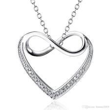 925 Sterling Silver Pendant Infinity Heart Love Necklace SALE! Reg. $80