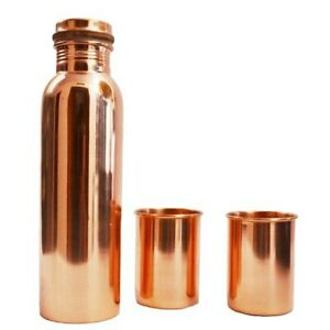 Pure Copper Handmade Palin Water Bottle With Tumbler 2 PC For Ayurveda Health