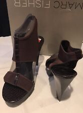 Marc Fisher MF Mabelle Brown Multi Fabric Heels Women's 10m