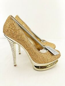 New Ladies Yellow Gold Diamante Stiletto Heel Formal Party UK Sizes