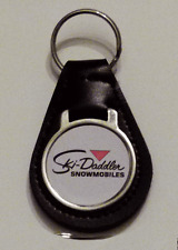 Reproduction Vintage Ski Daddler Snowmobile Medallion Style Leather Keychain
