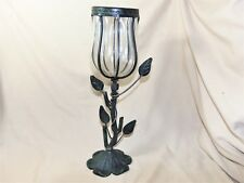 "Wrought Iron Candle Holder Art Nouveau Rose Bud Shaped 15"" Tall  7598"