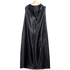 Black Halloween Costume Theater Prop Death Hoody Cloak Devil Long Tippet Cape OV