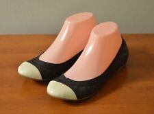 J CREW Women's 7 Marley Ballet Flats Black/ Cream Patent Cap Toe Style 50483