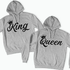 KING QUEEN CROWN HOODIE JUMPER MR MRS VALENTINES DAY COUPLES MATCHING 01 WEDDING