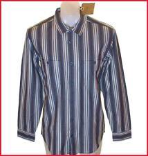 Bnwt Hommes Authentique Wrangler Manche Longue Rayure Shirt Large Neuf Rrp £ 59.99 Slim