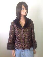 Nine West Dressy Jacket Cotton Silk Gold Metal Faux Fur Sz 12 Designer Fashion