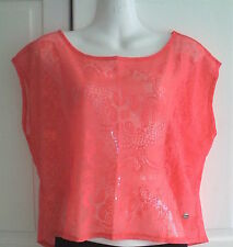A Pretty Lace Sheer Top In Neon Pink/Bright Coral, Stretch,by LIPSY LONDON, NEW