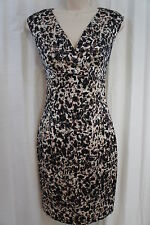 Andrew Marc Dress Sz 4 Black Brown Multi Color Sleeveless Business Evening Dress