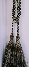 1 Luxury Tassel Window Decor Curtain Tieback - Black and Tan - 31 inches Wide