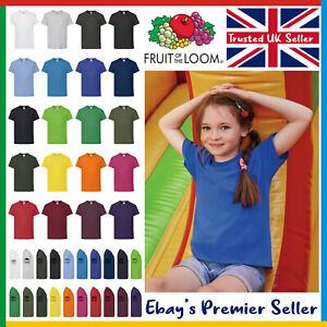 Kids Plain T-Shirt • Fruit of the Loom Original Children's Tee • FREE DELIVERY