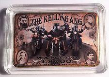 """NED KELLY""  The Kelly Gang Colour Printed HGE 999 24k Gold Ingot/token #18"