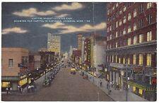 Jackson Ms Capitol Street at Night, Mississippi, Linen Postcard