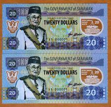 Set, Sarawak, Malaysia, 2 x 20 dollars, 2017, Matching S/Ns Polymer, UNC