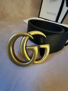 Leather Gucci Belt With Double G Buckle Size 75 Genuine Gucci GG Belt