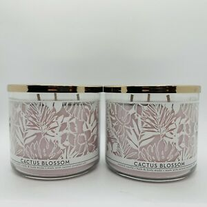 """SET OF 2 BATH & BODY WORKS """"CACTUS BLOSSOM"""" 3 WICK CANDLE BRAND NEW"""