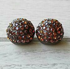 Vtg Pair GREAT BALLS OF FIRE! Shank Buttons BLACK Plastic LT ORANGE Rhinestones