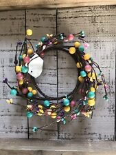 Country Candy Shop Pip Berry Ring Pink Yellow Aqua Twig Wreath