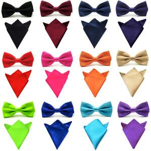 Men Satin Silk Solid Color Bowtie Bow Tie Handkerchief Pocket Square Hanky Set