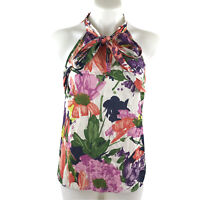 J Crew Silk Bow Cami Sleeveless Blouse Top Garden Floral Women's Size 4