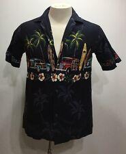 Pacific Legend Black Botton Down Short Sleeve Hawaiian Shirt For Men Size Medium