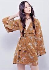 FREE PEOPLE Lilou Floral Print Mini Dress Toffee Combo Size XS $128 NWT OB45615