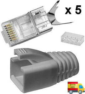 LOTE 5 CONECTORES TERMINALES CON GUIA CABLE RED BLINDADO CAT6 CAT7 Ethernet RJ45