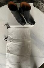 Celine Black Leather Boots With Metal Heel Size 38 1/2 Black