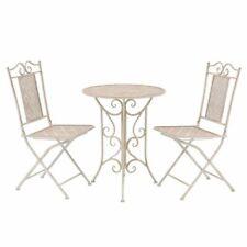 vidaXL Bistro Set Three Piece Outdoor Garden Patio Table and Chair Steel White