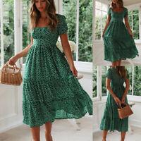 Womens Retro Floral Dress Summer Travel Beach Short Sleeve Casual Midi Dress Sz