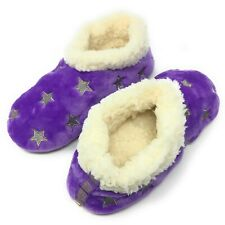 Women's Cozy Comfy Slippers Funny Fuzzy Fluffy Indoor Warm House Shoes Star Purp