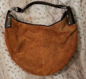 NWT Wilsons Leathers Brown Suede Studio Pelle Studio Purse Leathr Strap Bojo Bag