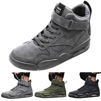Mens High Top Sneakers Casual Round Toe Fashion Lace-up Shoes Flat Ankle Boot