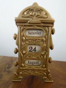 Vintage Art Nouveau Style Brass Perpetual Desk Calendar - Retro Desktop