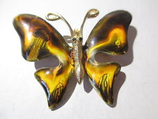 BUTTERFLY PIN PRETTY ENAMEL ORANGES BROWN DETAILED RHINESTONE EYES SIGNED EMMONS
