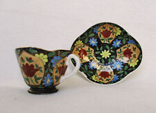 Old Chinese Hand Painted Porcelain Tea Cup & Saucer, Production for Italy