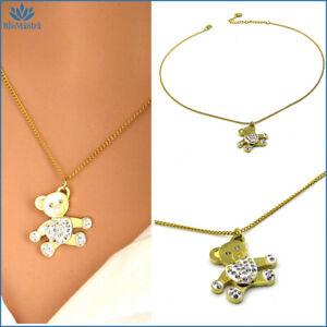 Collana da donna in acciaio inox con ciondolo orso orsetto oro a girocollo per