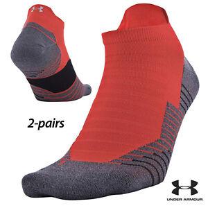 UA Socks: 2-PAIR Run 2.0 No Show Tab (L) Orange