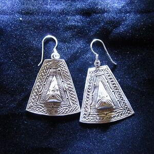 Fashion earrings Hill tribe Genuine silver thai karen tribal engraved auc415